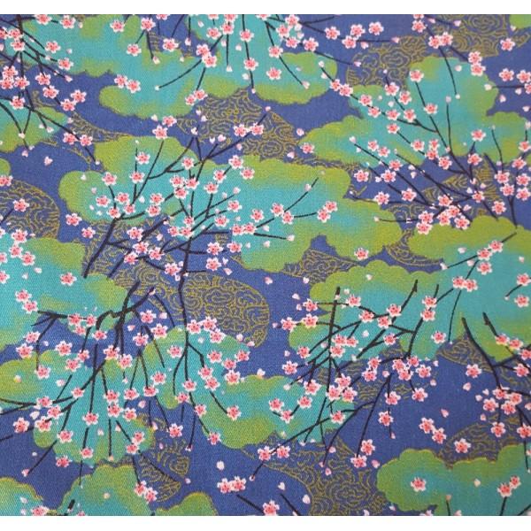 Coupon tissu style japonais - à fleurs de sakura rose   - coton - 40x50cm - Photo n°1