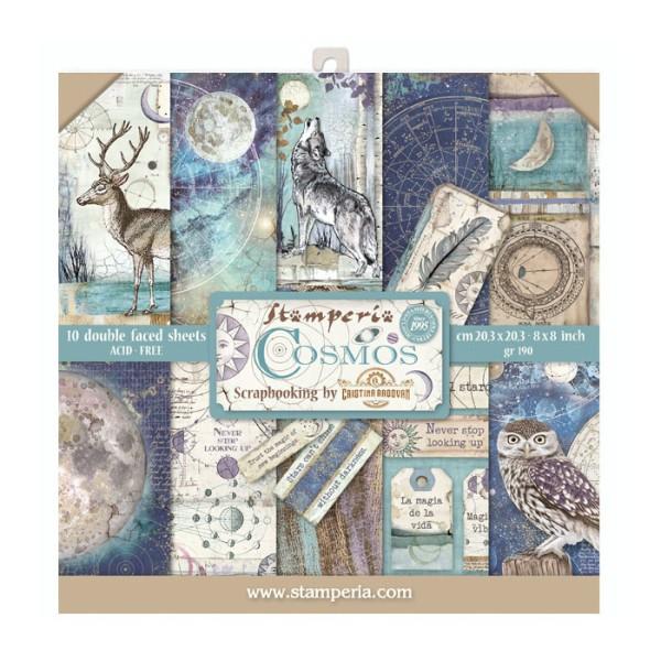 Papier scrapbooking Stamperia - Cosmos - 20 x 20 cm - 10 feuilles - Photo n°1