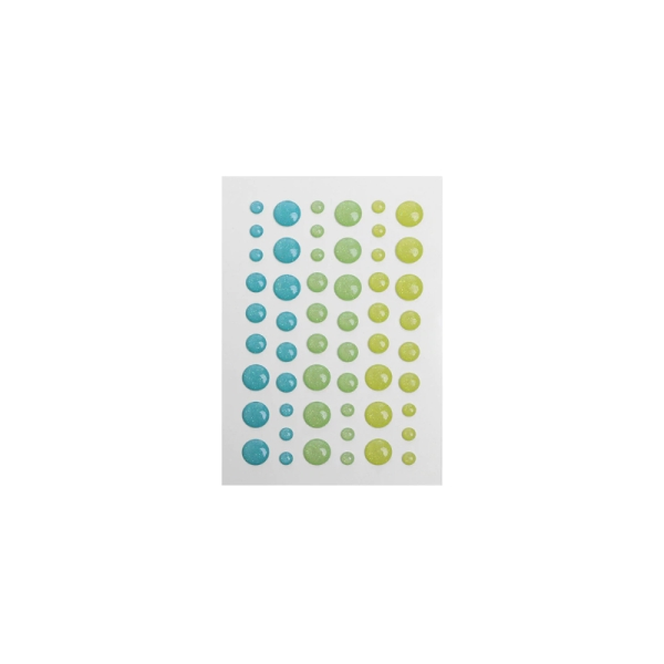 Dots jaune, vert clair et vert effet pailleté - Photo n°1
