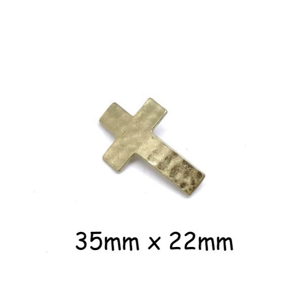 4 Perles Connecteur Croix Doré Pâle En Métal Martelé - Photo n°1