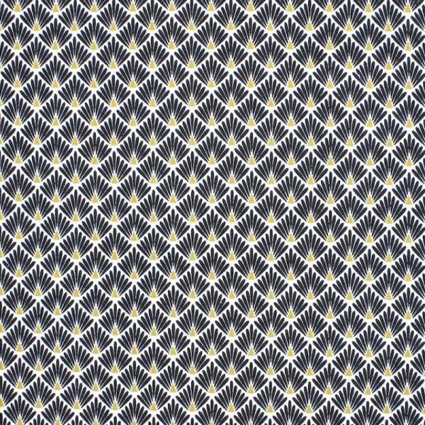Tissu coton Enduit  imprimé écailles - Noir - Oeko tex - Photo n°1