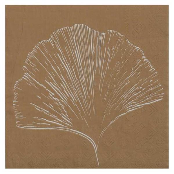 20 Serviettes en papier Feuillage Ginkgo naturel - Photo n°1