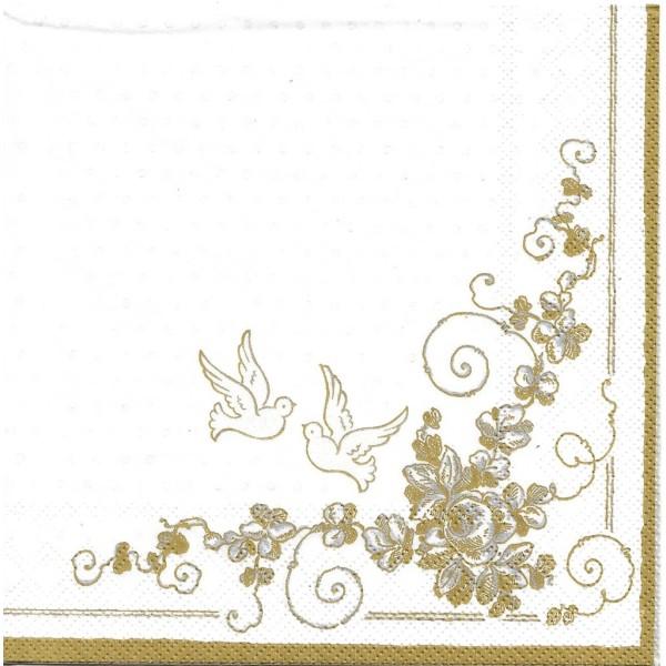 4 Serviettes en papier Mariage Colombe Format Lunch Decoupage Decopatch SLSL-000201 Pol-Mak - Photo n°1