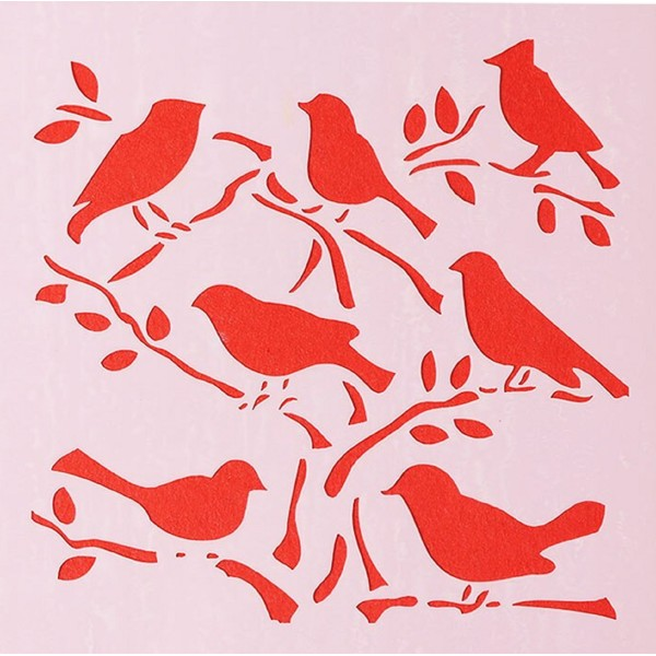 POCHOIR PLASTIQUE 13*13cm : oiseaux - Photo n°1