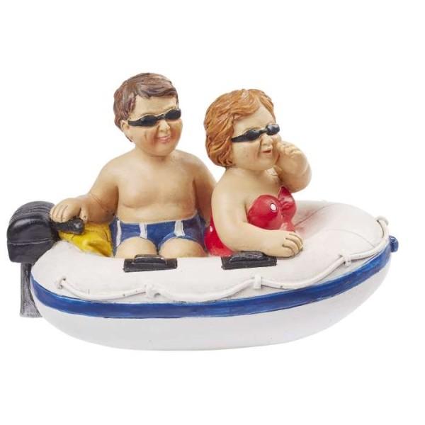 Figurine couple de vacanciers dans bateau - Photo n°1
