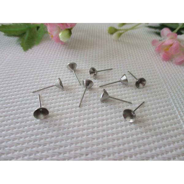 Supports boucles d'oreilles puce argent mat pour strass 6 mm x 10 - Photo n°2