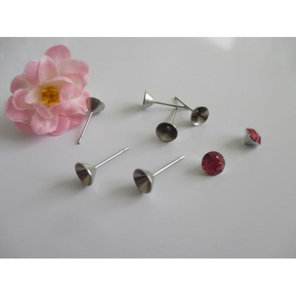 Supports boucles d'oreilles puce argent mat pour strass 6 mm x 10 - Photo n°1