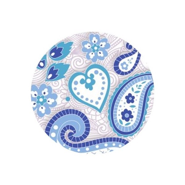 2 Cabochons Verre 14 mm, Cabochon Rond, Paisley Hindou 5 - Photo n°1