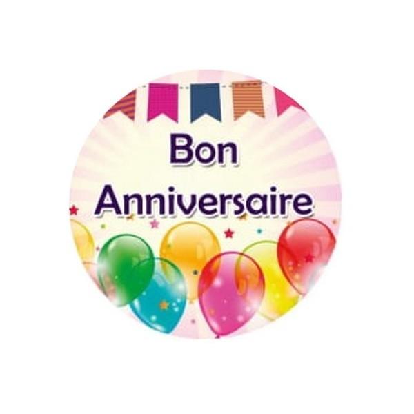 1 Cabochon Verre 30 mm, Cabochon Rond, Anniversaire Bon Anniversaire 2 - Photo n°1