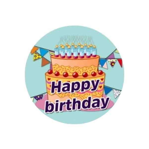 2 Cabochons Verre 16 mm, Cabochon Rond, Anniversaire Happy Birthday 1 - Photo n°1
