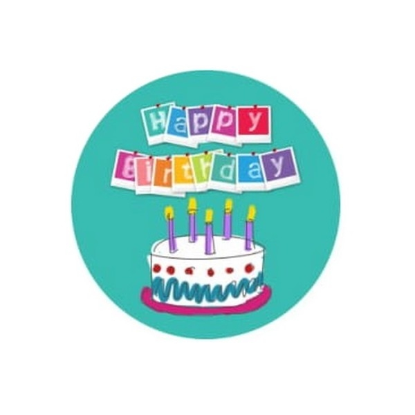 2 Cabochons Verre 14 mm, Cabochon Rond, Anniversaire Happy Birthday 2 - Photo n°1