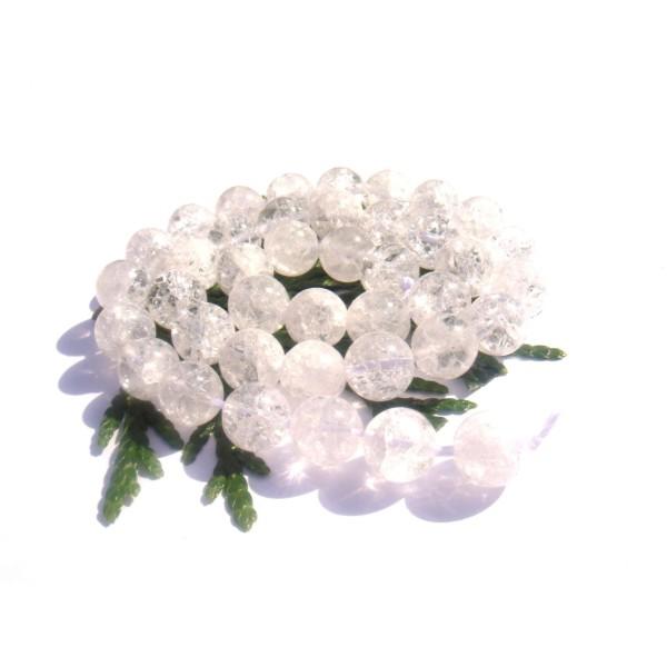 Cristal de Roche Craquelé : 10 perles 8 MM de diamètre - Photo n°1