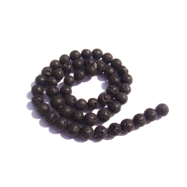 Pierre de Lave : 10 perles 6 MM de diamètre - Photo n°1