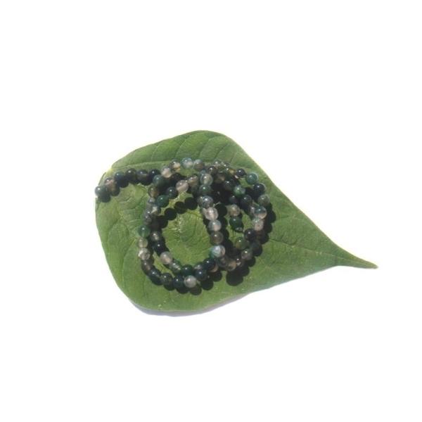 Agate Mousse multicolore : 20 perles 4 MM de diamètre - Photo n°1