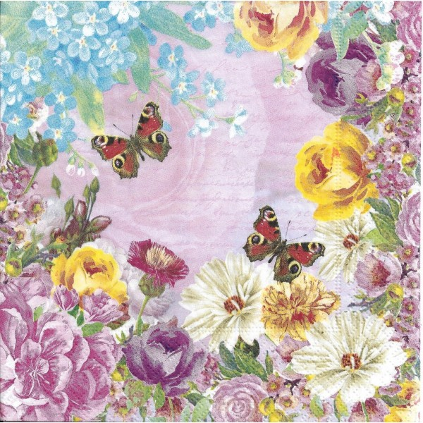 4 Serviettes en papier Papillons Fleurs Format Lunch Decoupage Decopatch 191708 Paper+Design - Photo n°2