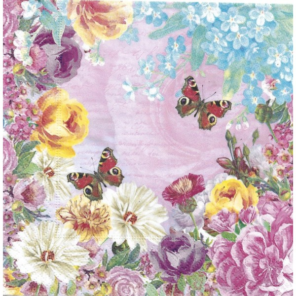 4 Serviettes en papier Papillons Fleurs Format Lunch Decoupage Decopatch 191708 Paper+Design - Photo n°1