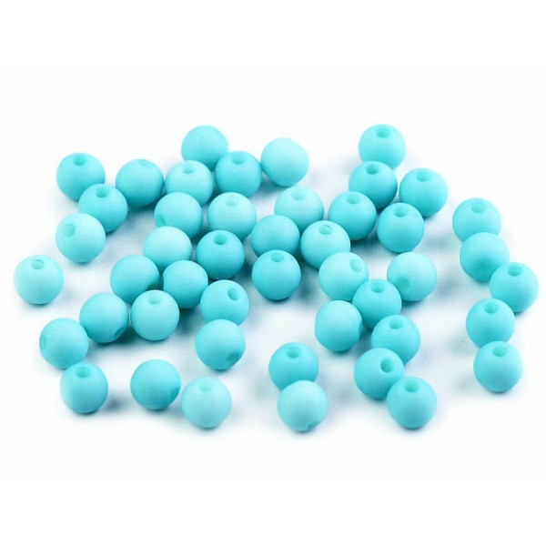 100pc (54) Turquoise Mat Acrylique Perles 6mm, Plastique - Photo n°1