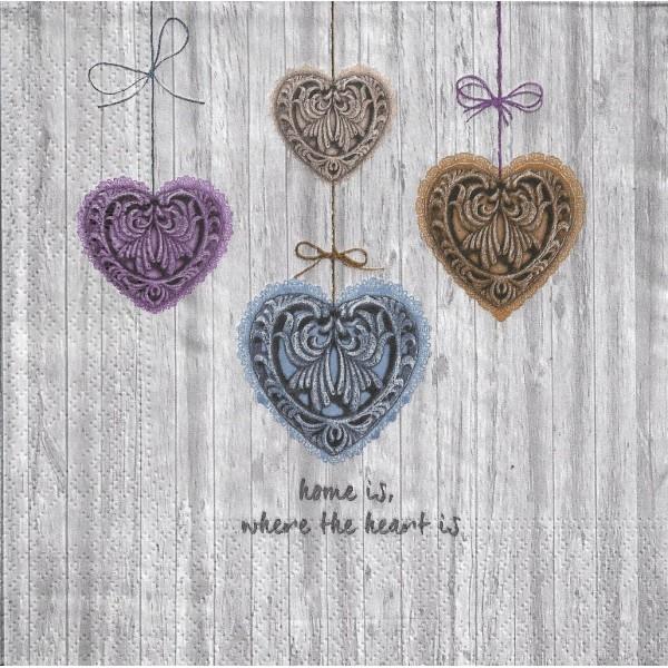4 Serviettes en papier Cœurs Amour Format Lunch PT-85594 Papstar Decoupage Decopatch - Photo n°1