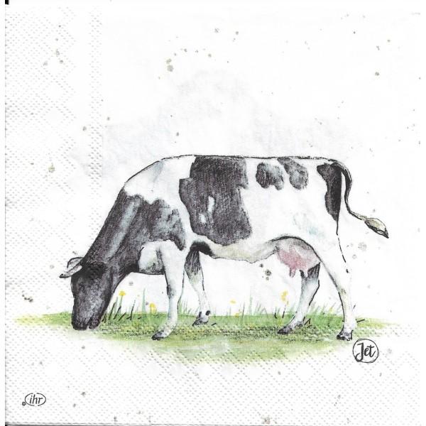 4 Serviettes en papier Vache Holstein Decoupage Decopatch Format Lunch L-859900 IHR - Photo n°2