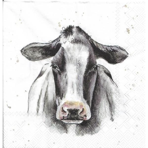 4 Serviettes en papier Vache Holstein Decoupage Decopatch Format Lunch L-859900 IHR - Photo n°1