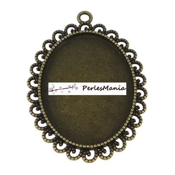 Lot de 4 pendentifs ARTY Camé Ovale RETRO VAGUE 30 par 40mm ref 132 BRONZE - Photo n°1