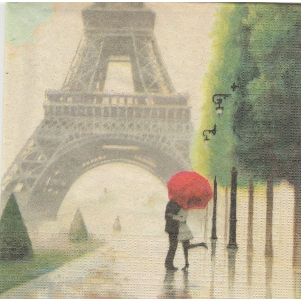 4 Serviettes en papier Paris Romance Format Lunch Decoupage Decopatch 133-1427 PPD - Photo n°1