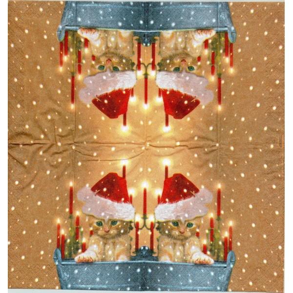 4 Mouchoirs en papier Chat Bonnet de Noël Decoupage Decopatch TC0037 Colourful Life - Photo n°1