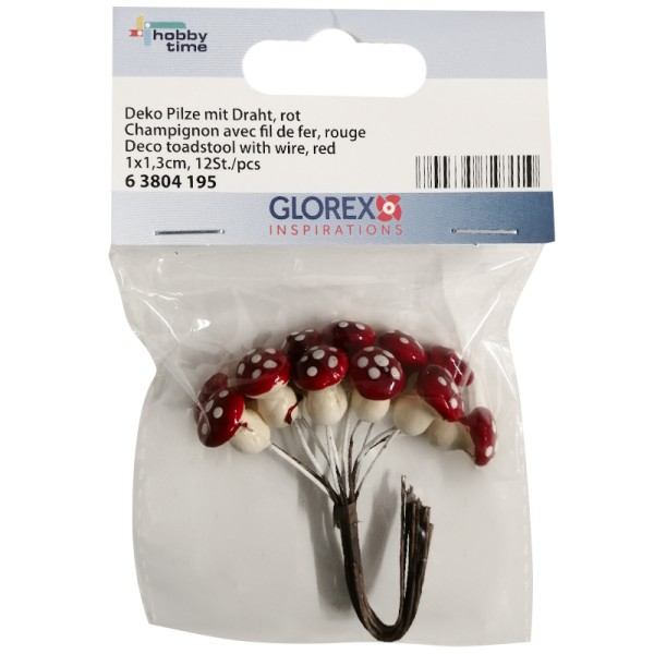 Assortiment de petits champignons rouges avec fil de fer - 12 pcs - Photo n°1