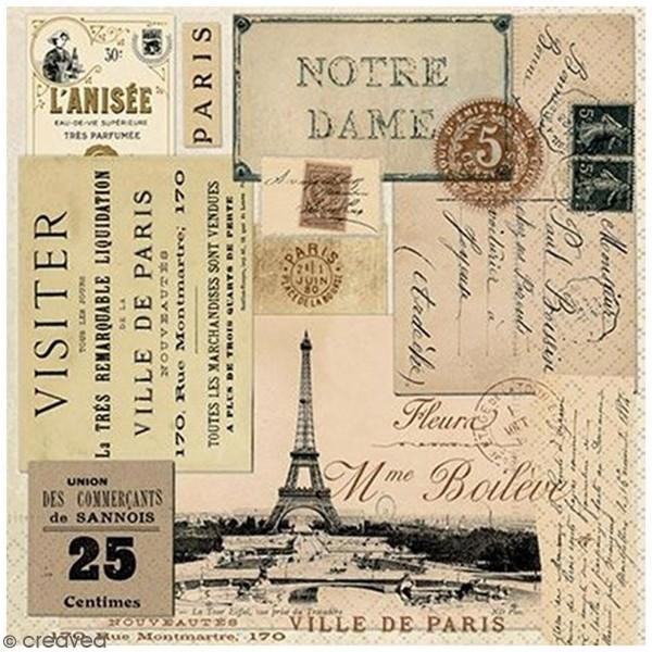 Serviette en papier - Paris vintage - 33 x 33 cm - 20 pcs - Photo n°1