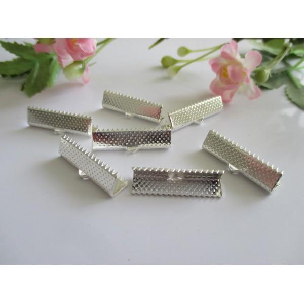 Embouts ruban à griffe argenté 25 mm x 15 - Photo n°1