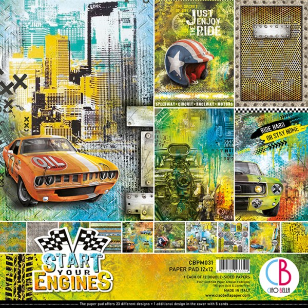 12 papiers scrapbooking 30,5 x 30,5 cm CIAO BELLA START YOUR ENGINES - Photo n°1