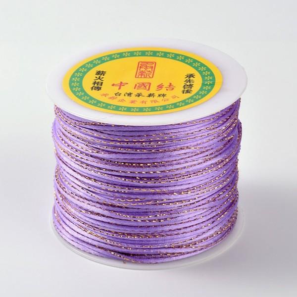 Cordon polyester 2 mm mauve et doré x 1 m - Photo n°2