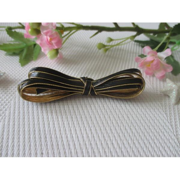 Cordon plat simili cuir noir et doré 3 mm x 1 m - Photo n°2