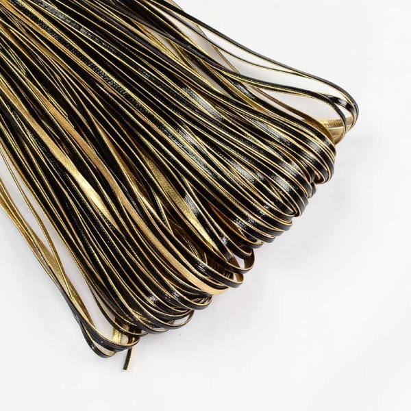 Cordon plat simili cuir noir et doré 3 mm x 1 m - Photo n°1