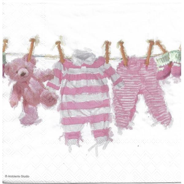 4 Serviettes en papier Vêtements Bébé Fille Format Lunch Decoupage Decopatch 13313980 Ambiente - Photo n°1