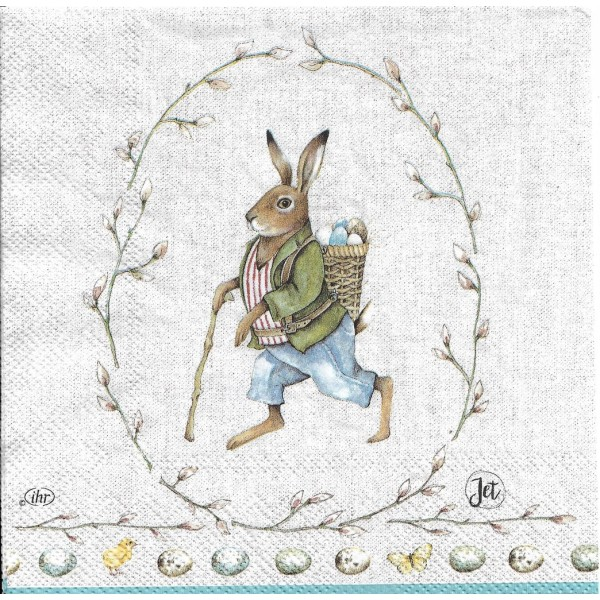 4 Serviettes en papier Lapin de Pâques Format Lunch Decoupage Decopatch L-844100 IHR - Photo n°1