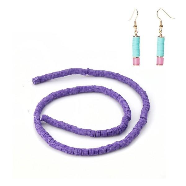 Perles HEISHI 5 mm violet x fil de 319 unités - Photo n°2