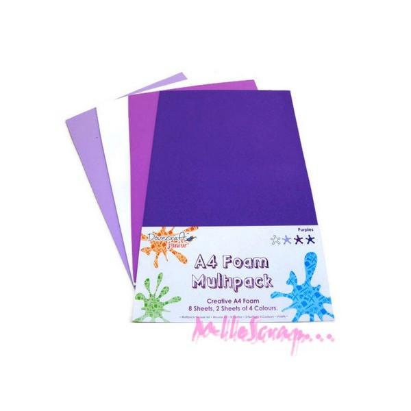 Feuilles de mousse tons violet - 8 pièces - Photo n°1