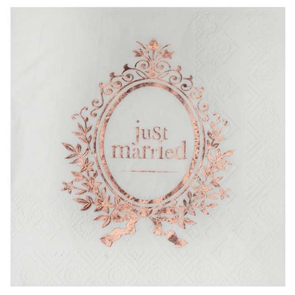 20 Serviettes cocktail Just Married rose gold - Photo n°1
