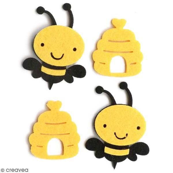 Formes en feutrine - Abeilles et pot de miel - 4 pcs - Photo n°1