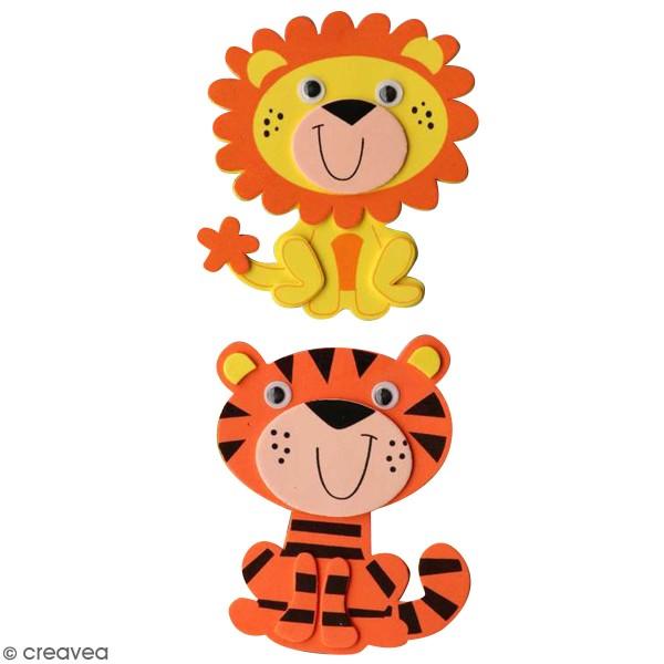 Assortiment de forme en papier mousse - Lion et Tigre - 2 pcs - Photo n°1