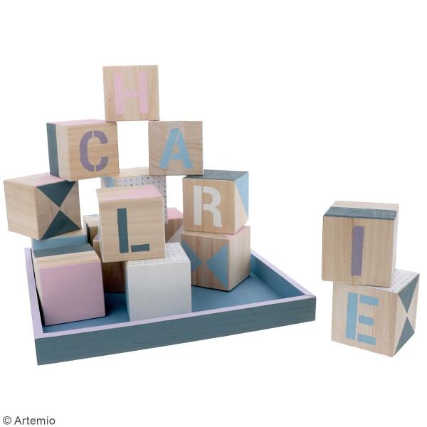 Cubes en bois à décorer - 6 x 6 x 6 cm - 16 pcs - Photo n°2