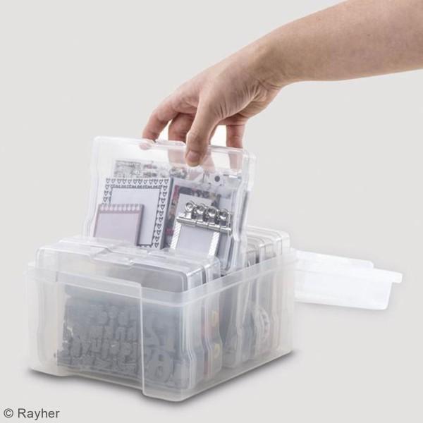 Boîte de rangement - 6 compartiments - 21 x 18,5 x 14 cm - Photo n°4