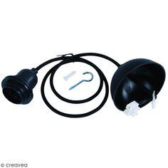 Câble électrique pour suspension 1 m - Douille ampoule E27 - Noir