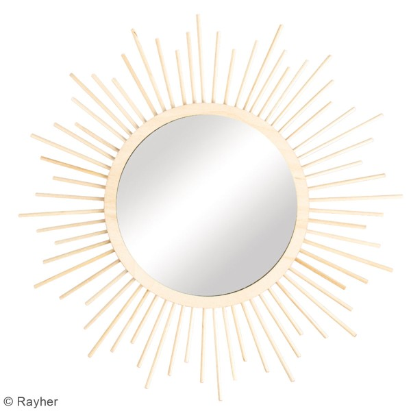 Kit miroir en bois - soleil - 32 cm - Photo n°2