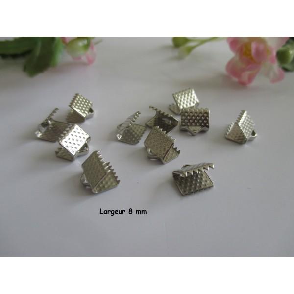 Embouts ruban à griffe 8 mm argent mat x 20 - Photo n°1