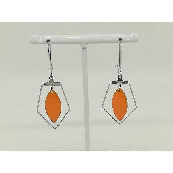 Kit boucles d'oreilles apprêts argent mat et navette émail orange - Photo n°2