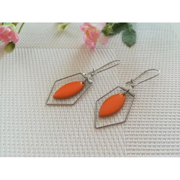 Kit boucles d'oreilles apprêts argent mat et navette émail orange - Photo n°1