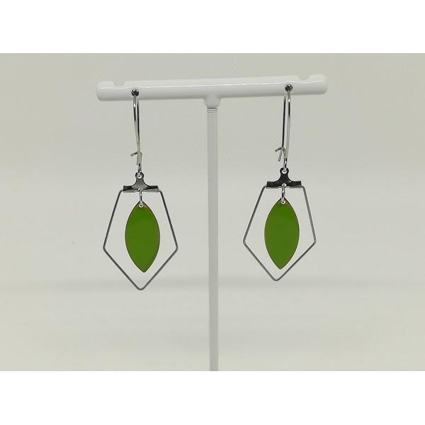 Kit boucles d'oreilles apprêts argent mat et navette émail verte - Photo n°2