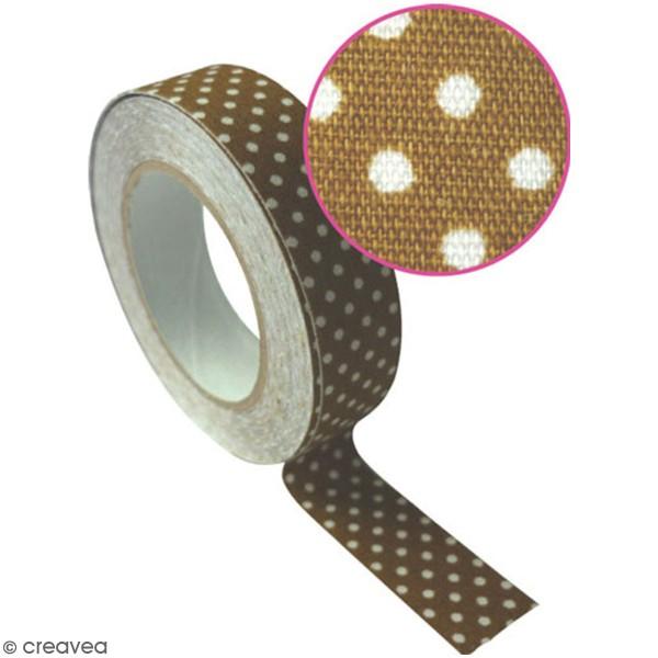 Masking Tape tissu - Coloris Tabac à pois blanc - 15 mm x 5 m - Photo n°2